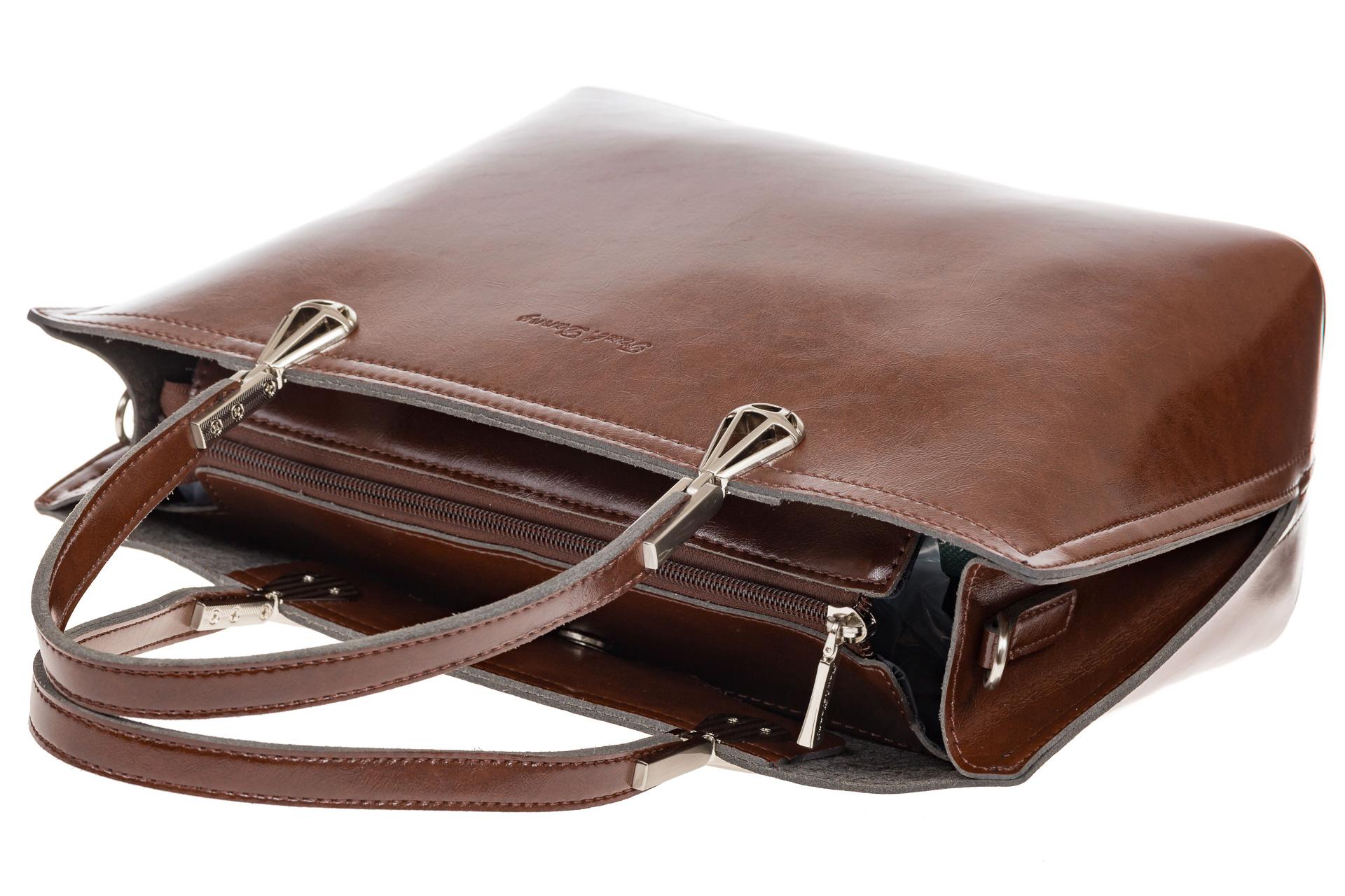 На фото 4 - Женская сумка из натуральной кожи, цвет коричневый
