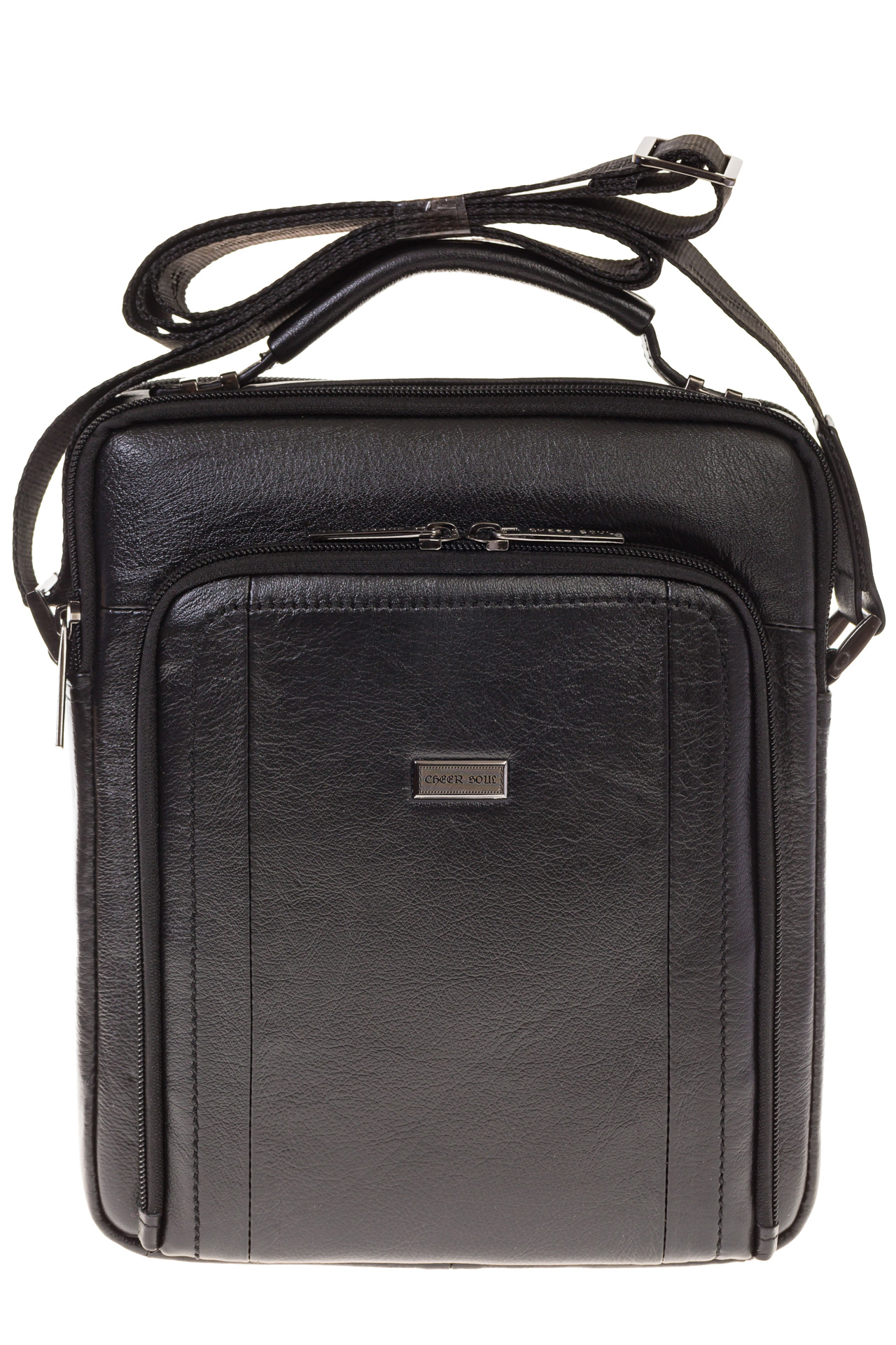 На фото 2 - Мужская кожаная сумка черного цвета 7057MM5