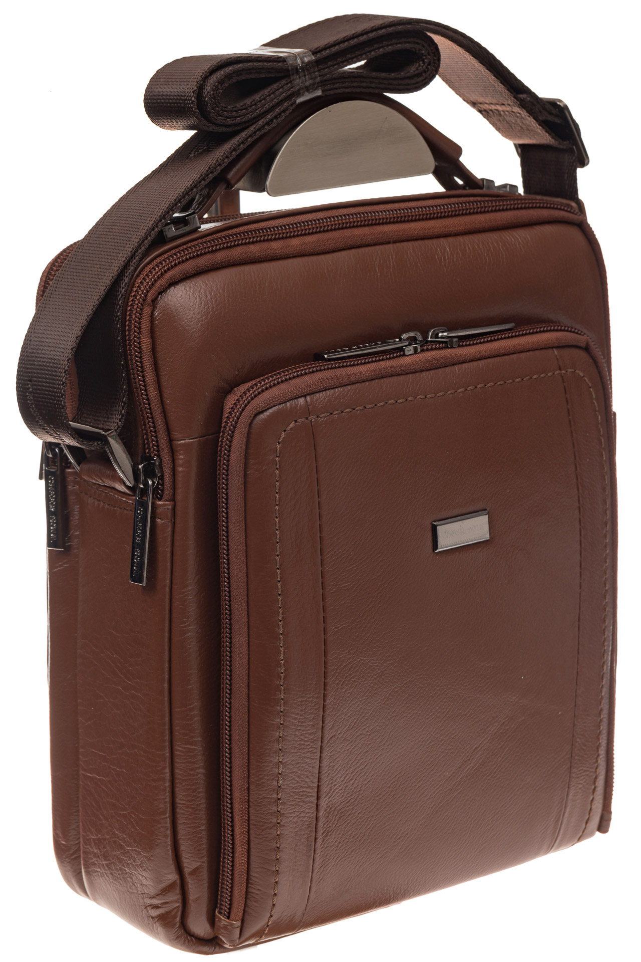 На фото 1 - Мужская деловая сумка из натуральной кожи, цвет рыжий