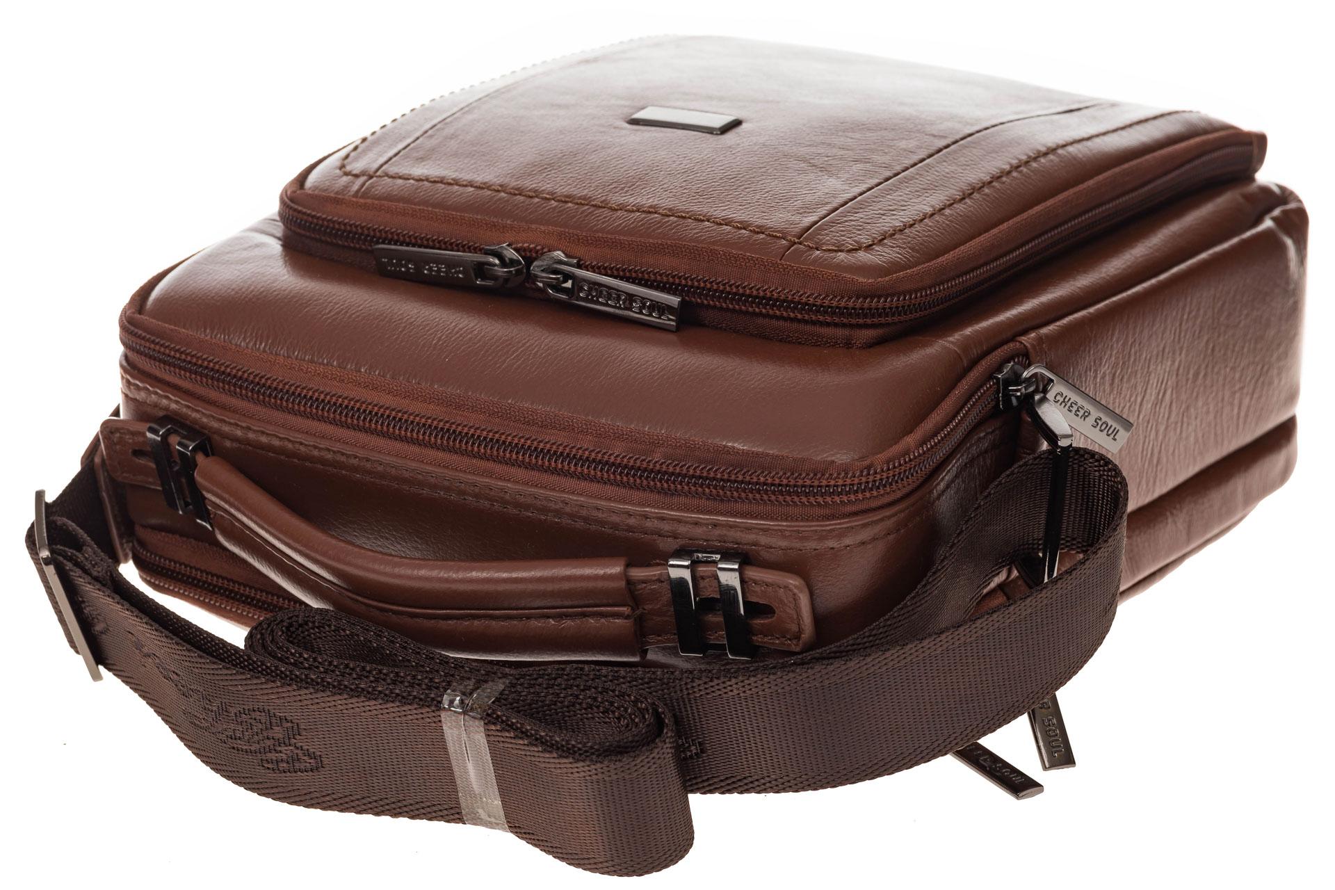 На фото 4 - Мужская деловая сумка из натуральной кожи, цвет рыжий