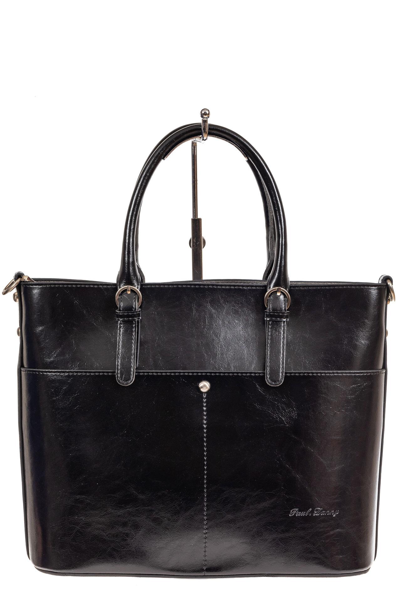 На фото 2 - Классический кожаный тоут, цвет чёрный