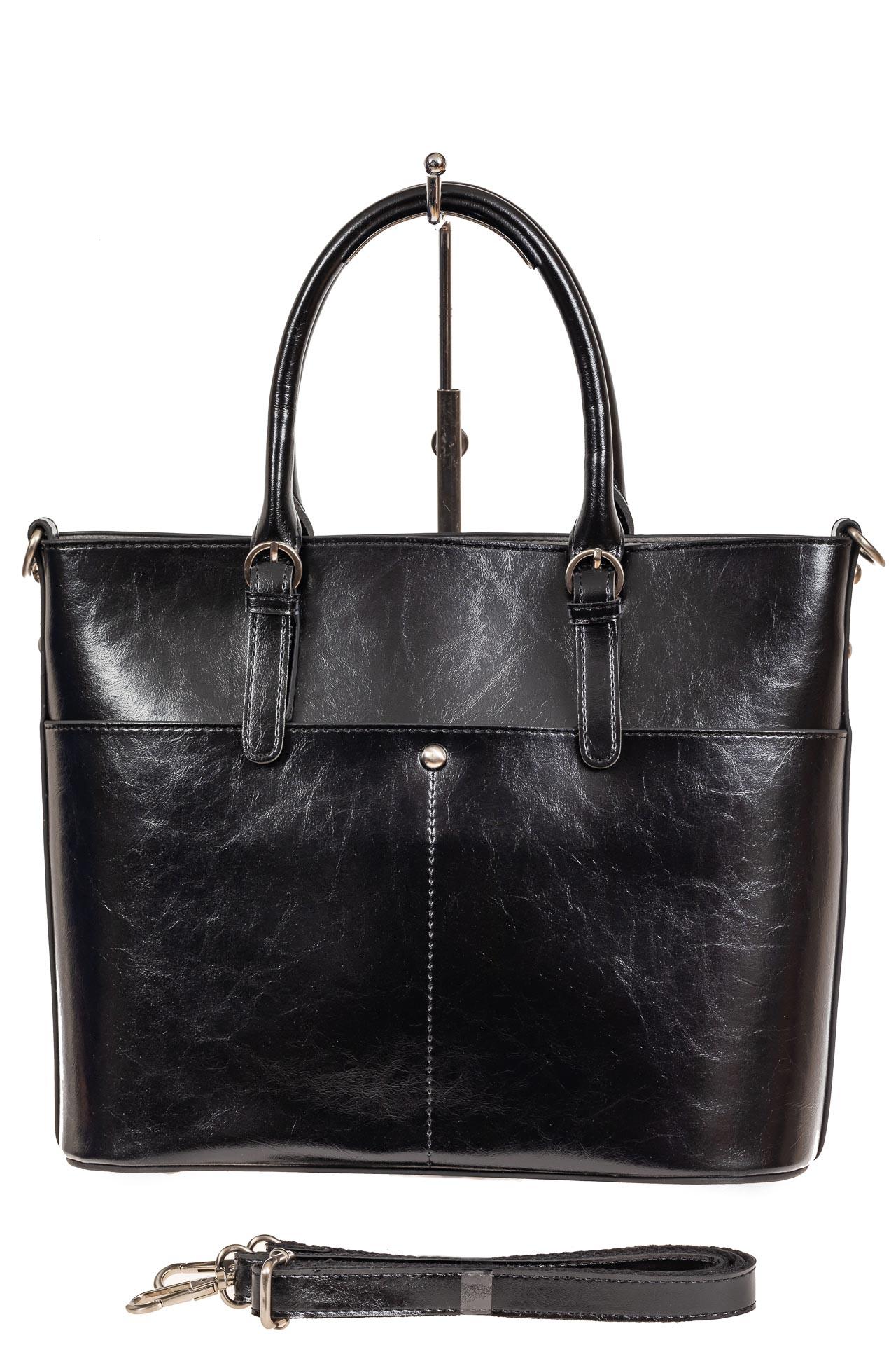 На фото 3 - Классический кожаный тоут, цвет чёрный