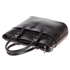 На фото 4 - Классический кожаный тоут, цвет чёрный