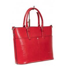 На фото 1 - Классический кожаный тоут, цвет красный