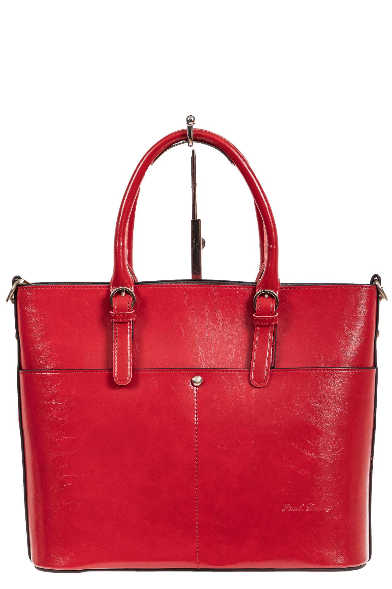 На фото 2 - Классический кожаный тоут, цвет красный