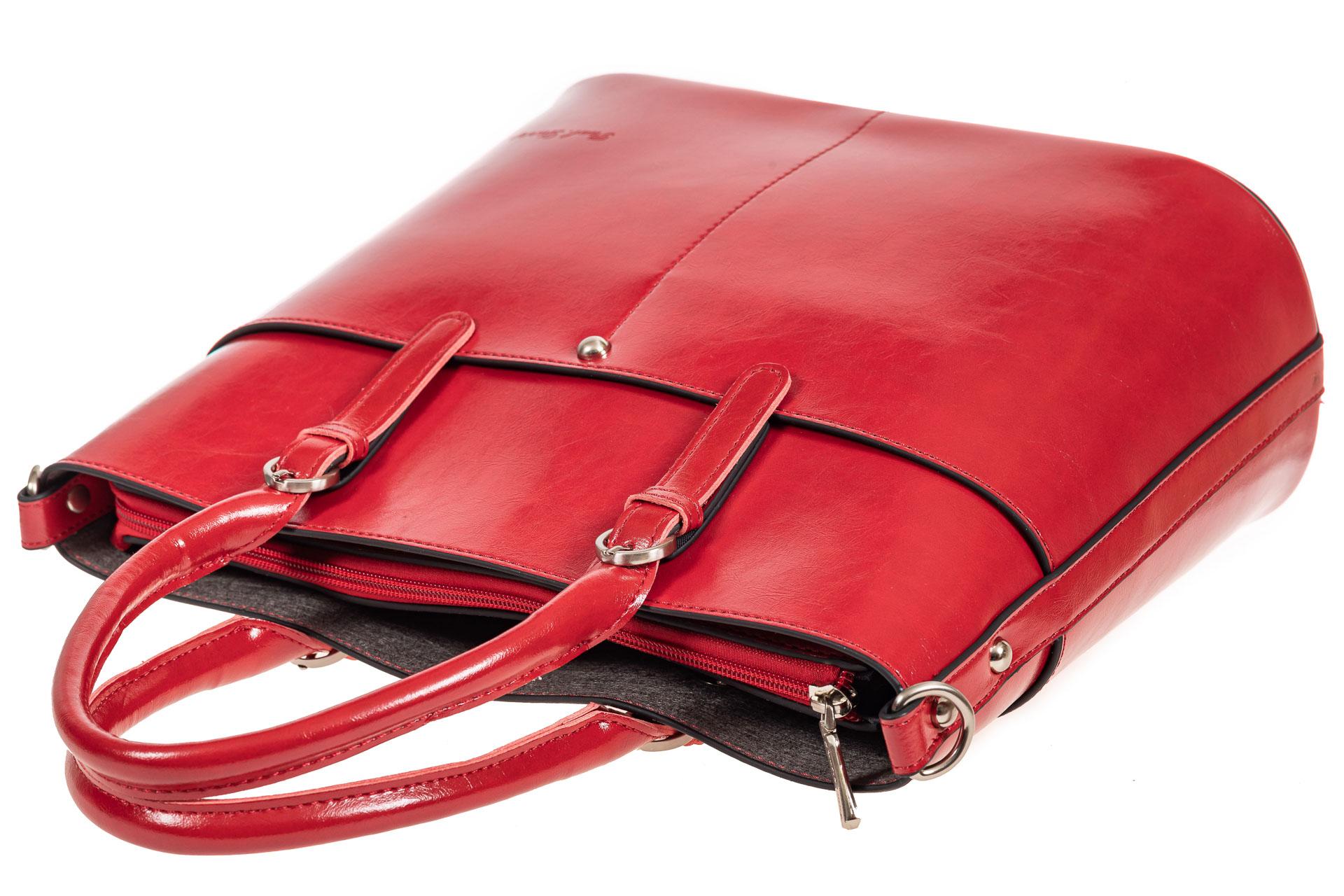 На фото 4 - Классический кожаный тоут, цвет красный
