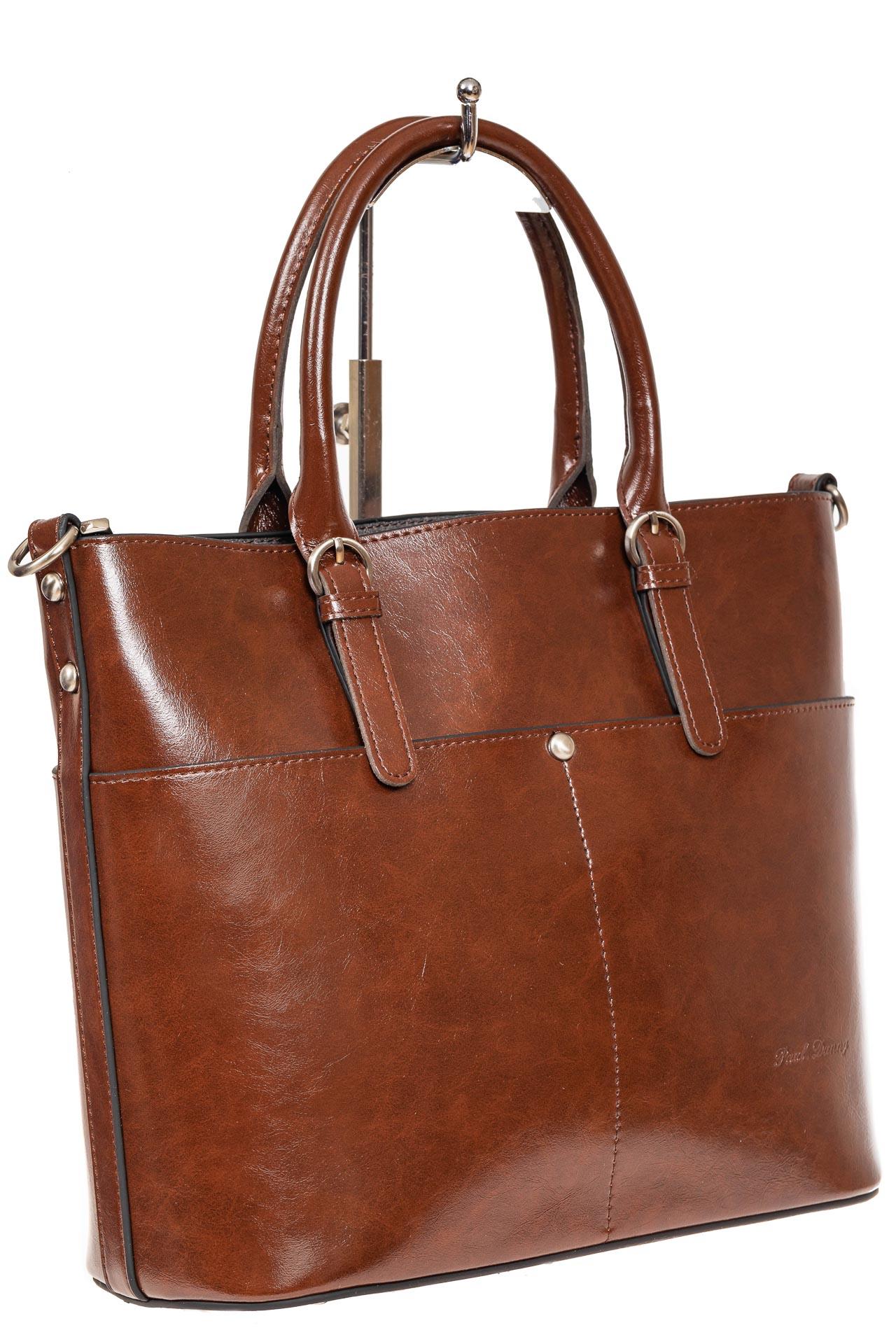 На фото 1 - Классический кожаный тоут, цвет коричневый