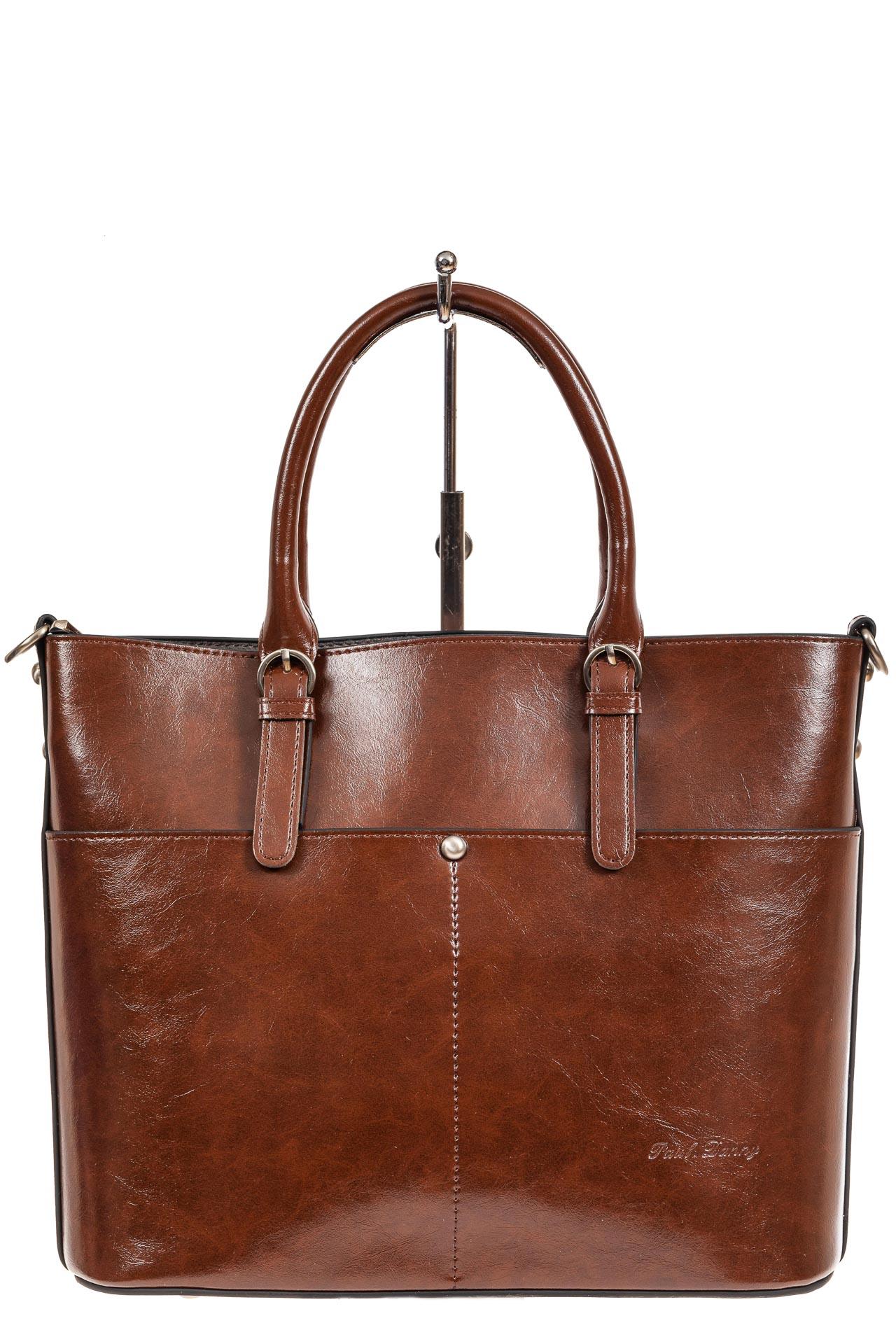 На фото 2 - Классический кожаный тоут, цвет коричневый