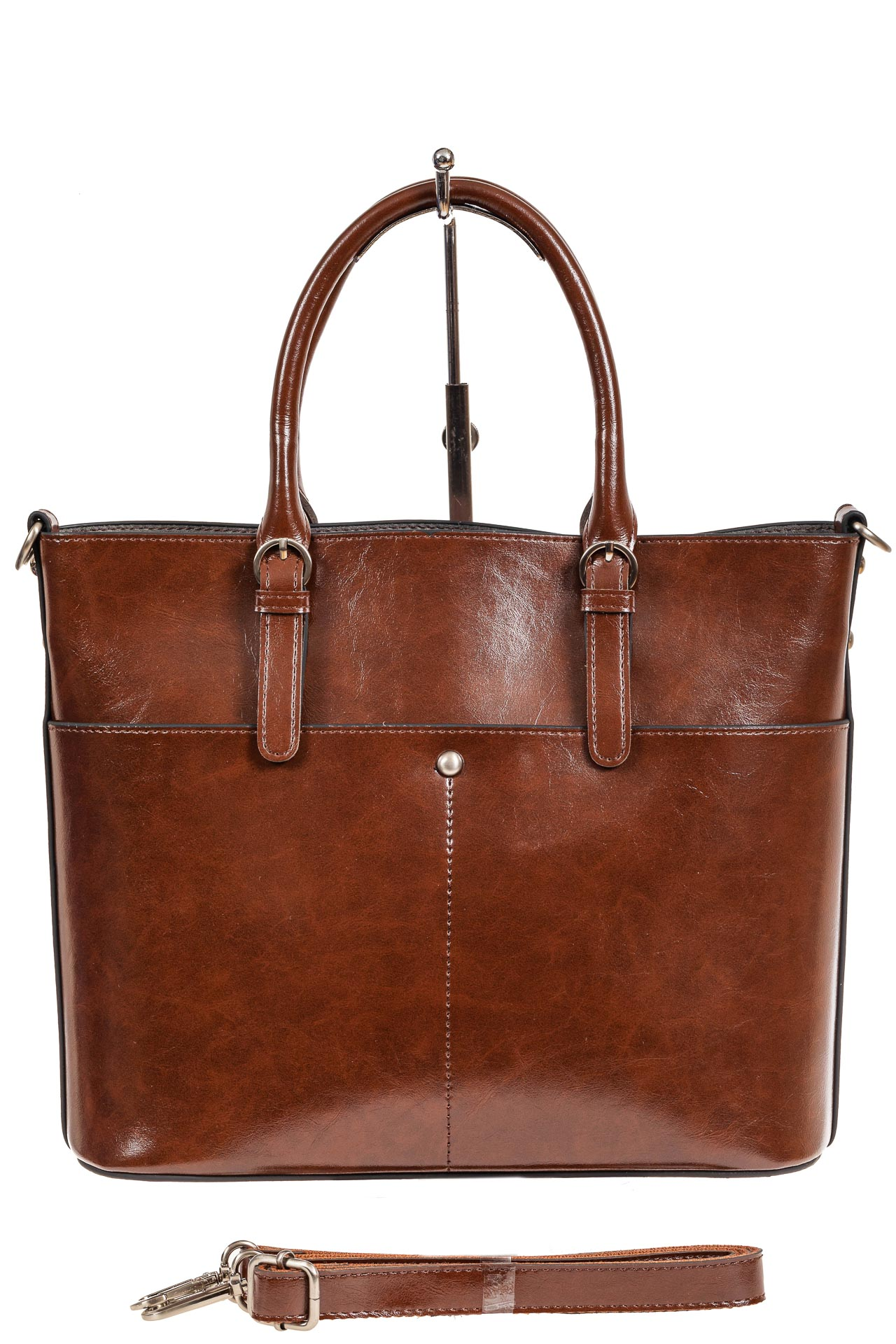 На фото 3 - Классический кожаный тоут, цвет коричневый