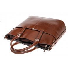 На фото 4 - Классический кожаный тоут, цвет коричневый