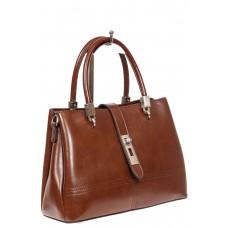 На фото 1 - Женская кожаная сумка с замком-вертушкой, цвет коричневый