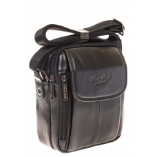 На фото 1 - Мужская сумка из черной анилиновой кожи 706...