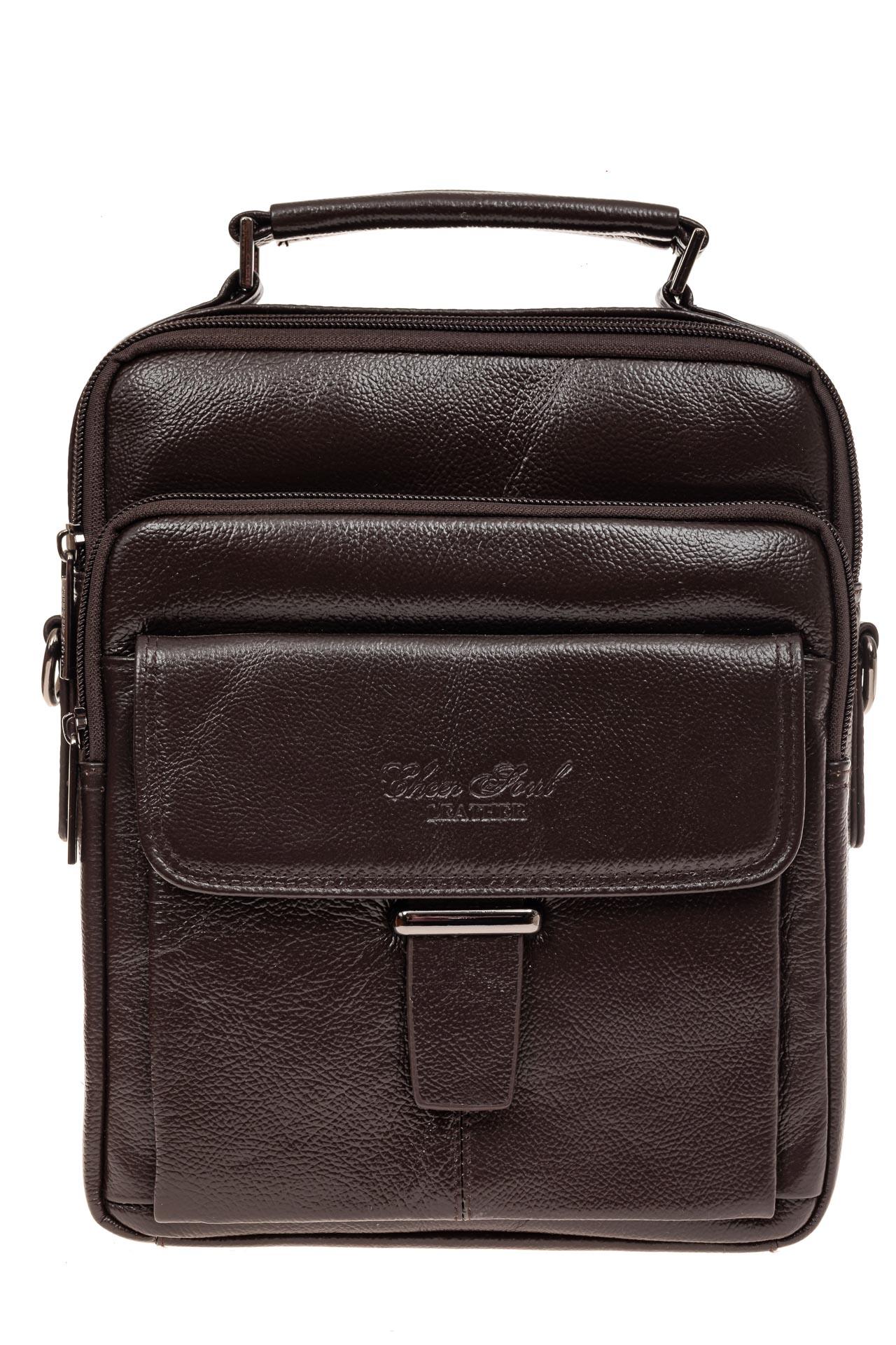 На фото 2 - Мужская сумка из натуральной кожи, цвет коричневый