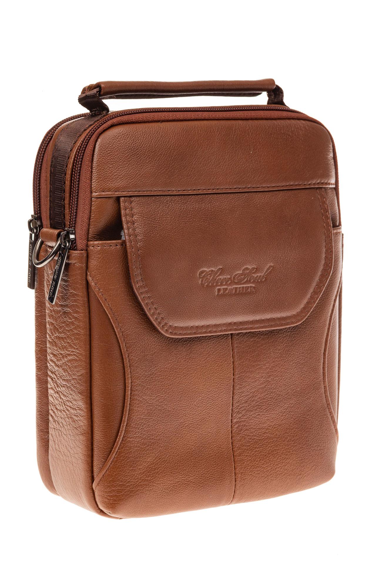 На фото 1 - Мужская сумка из натуральной кожи на каждый день, цвет рыжий