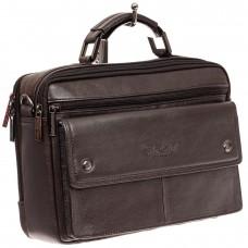 На фото 1 - Коричневая мужская сумка-мессенджер из кожи