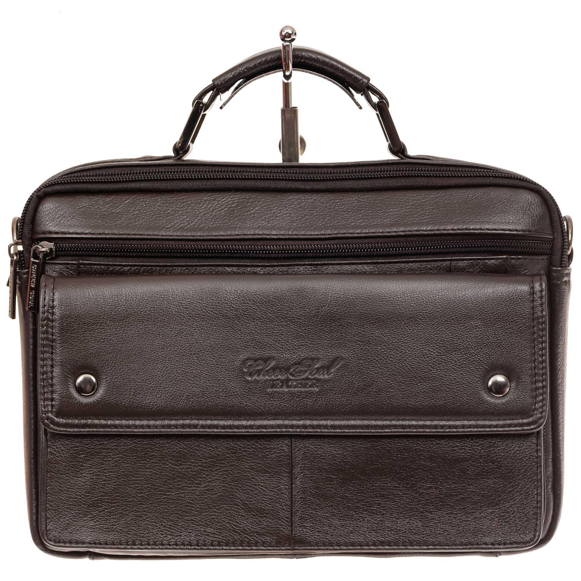 На фото 2 - Коричневая мужская сумка-мессенджер из кожи