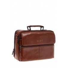 На фото 1 - Мужская кожаная сумка через плечо, цвет коричневый
