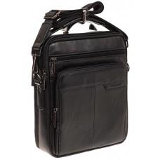 На фото 1 - Мужская сумка из натуральной кожи, цвет чер...