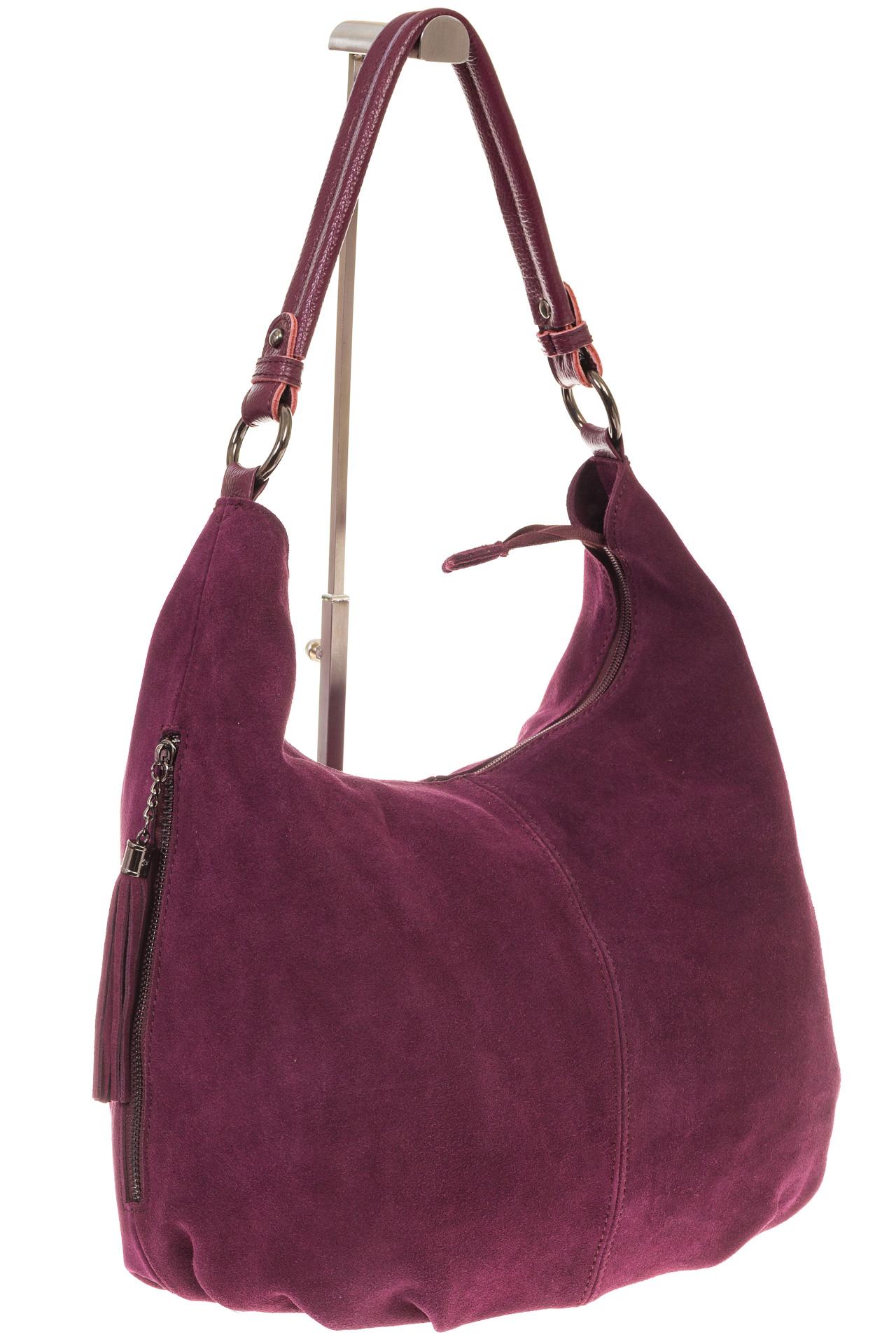 На фото 1 - Бордовая сумка hobo из замши с боковыми карманами