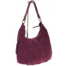 На фото 1 - Женская бордовая сумка hobo из замши с боковыми карманами