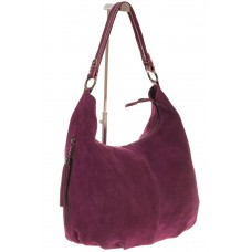 На фото 1 - Бордовая сумка hobo из замши с боковыми кар...