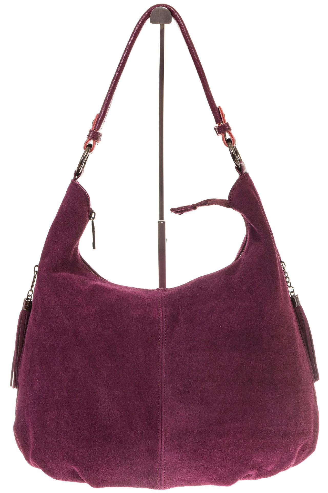 На фото 2 - Бордовая сумка hobo из замши с боковыми карманами