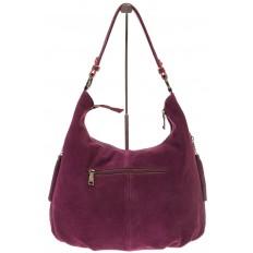 На фото 3 - Бордовая сумка hobo из замши с боковыми карманами