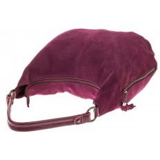 На фото 4 - Бордовая сумка hobo из замши с боковыми карманами