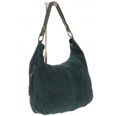 На фото 1 - Зеленая сумка hobo из замши с боковыми карманами