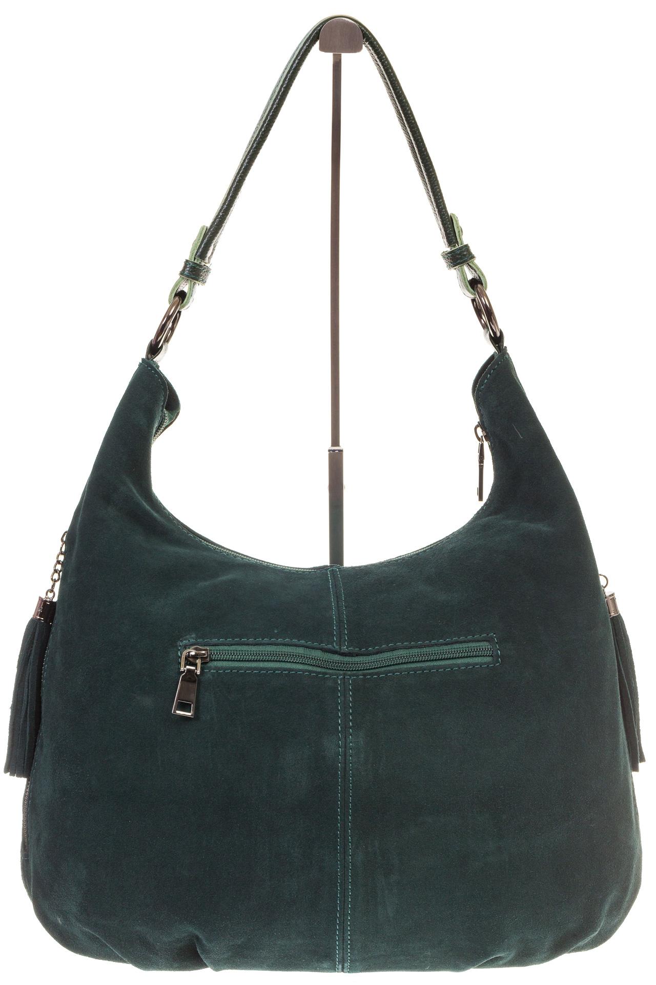 На фото 3 - Зеленая сумка hobo из замши с боковыми карманами