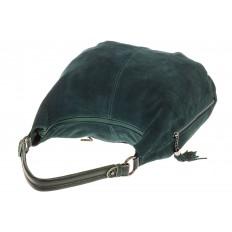 На фото 4 - Зеленая сумка hobo из замши с боковыми карманами
