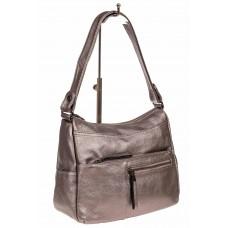 На фото 1 - Женская сумка хобо из искусственной кожи, цвет золото