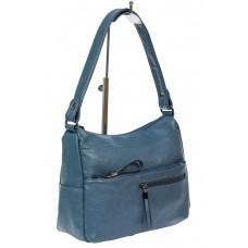 На фото 1 - Женская сумка хобо из искусственной кожи, синяя