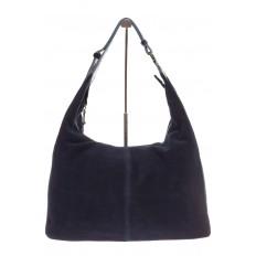 На фото 2 - Классическая сумка хобо из натуральной замши синего цвета