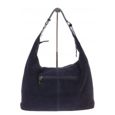 На фото 3 - Классическая сумка хобо из натуральной замши синего цвета