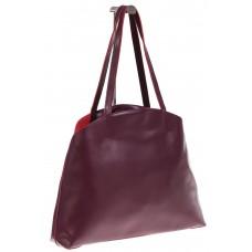 На фото 1 - Женская сумка из мягкой натуральной кожи, цвет бордо