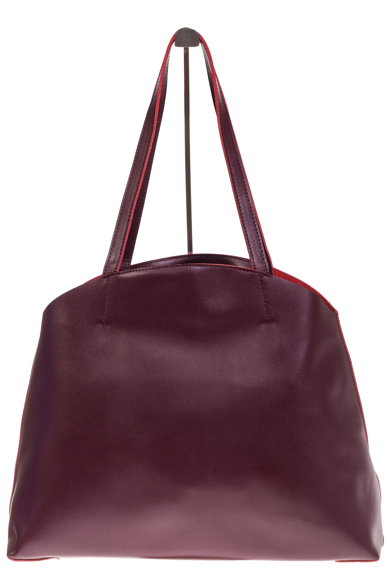 На фото 2 - Женская сумка из мягкой натуральной кожи, цвет бордо