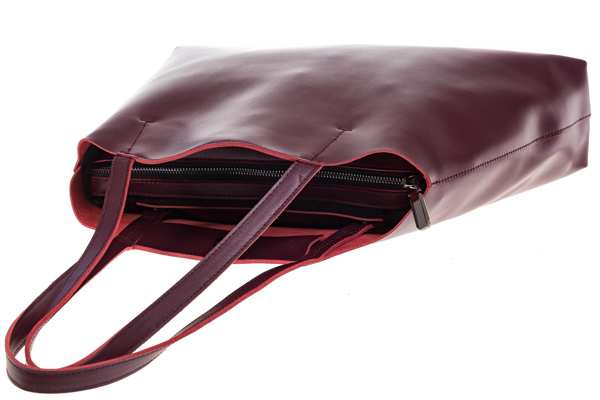 На фото 4 - Женская сумка из мягкой натуральной кожи, цвет бордо