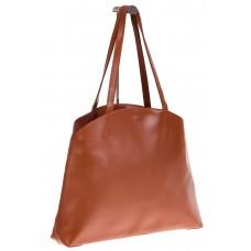 На фото 1 - Женская сумка из мягкой натуральной кожи, цвет рыжий