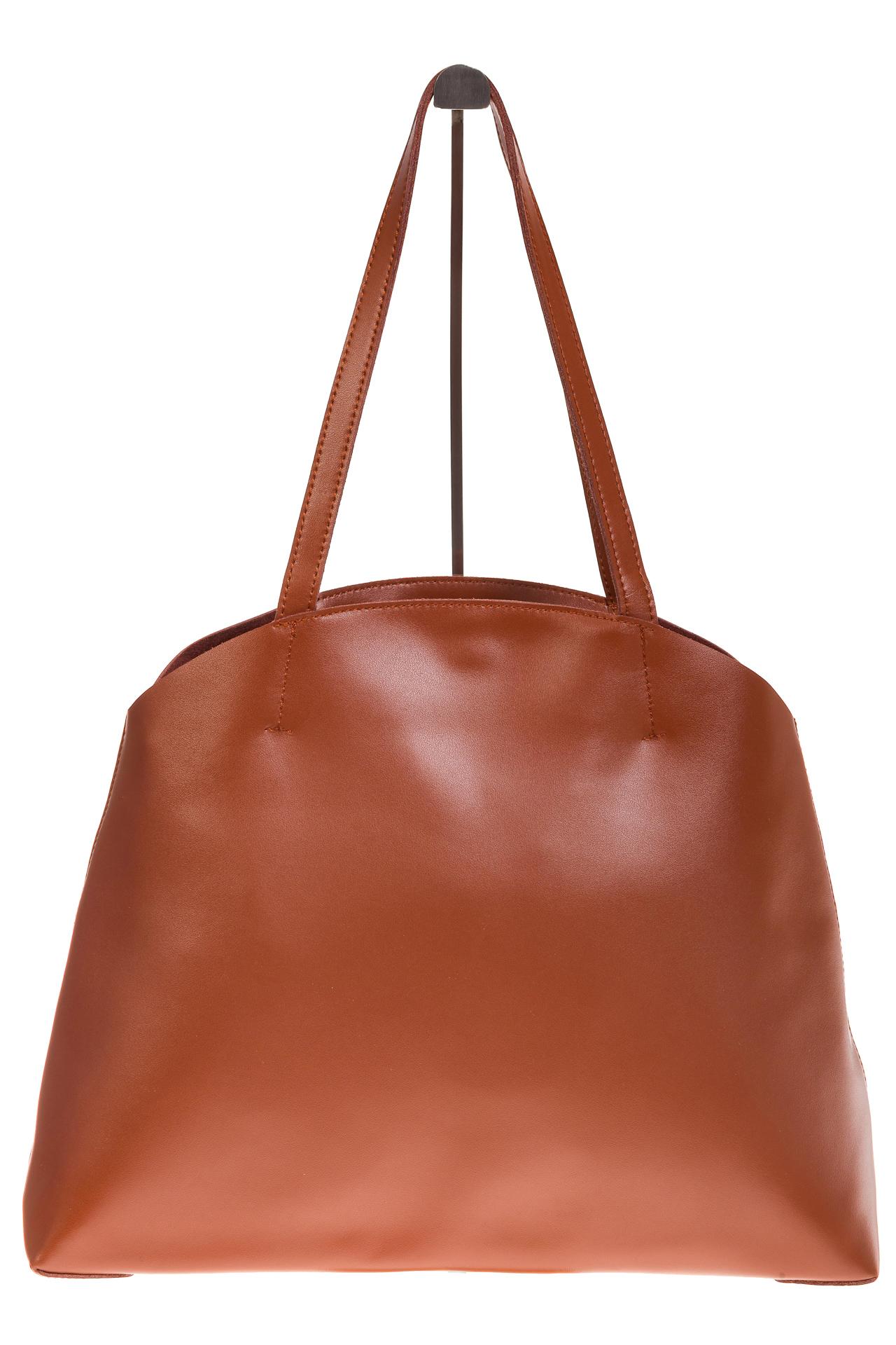 На фото 2 - Женская сумка из мягкой натуральной кожи, цвет рыжий