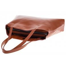 На фото 4 - Женская сумка из мягкой натуральной кожи, цвет рыжий