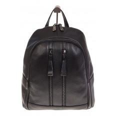 На фото 2 - Кожаный рюкзак черного цвета для женщин 7112