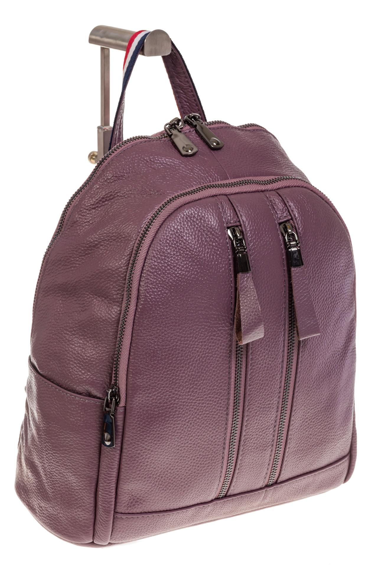 На фото 1 - Кожаный рюкзак цвета пудры для женщин 7112