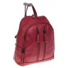 На фото 1 - Кожаный рюкзак бордового цвета для женщин 7112