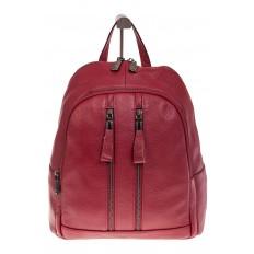 На фото 2 - Кожаный рюкзак бордового цвета для женщин 7112