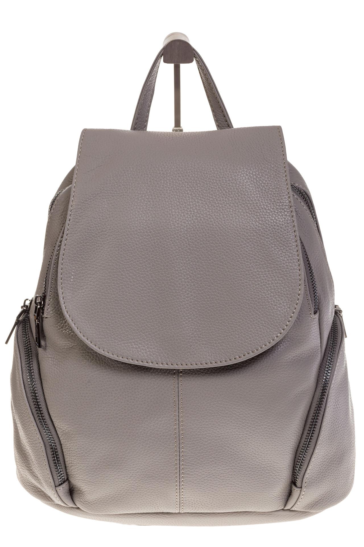 На фото 2 - Серый женский рюкзак из натуральной кожи для города 7113