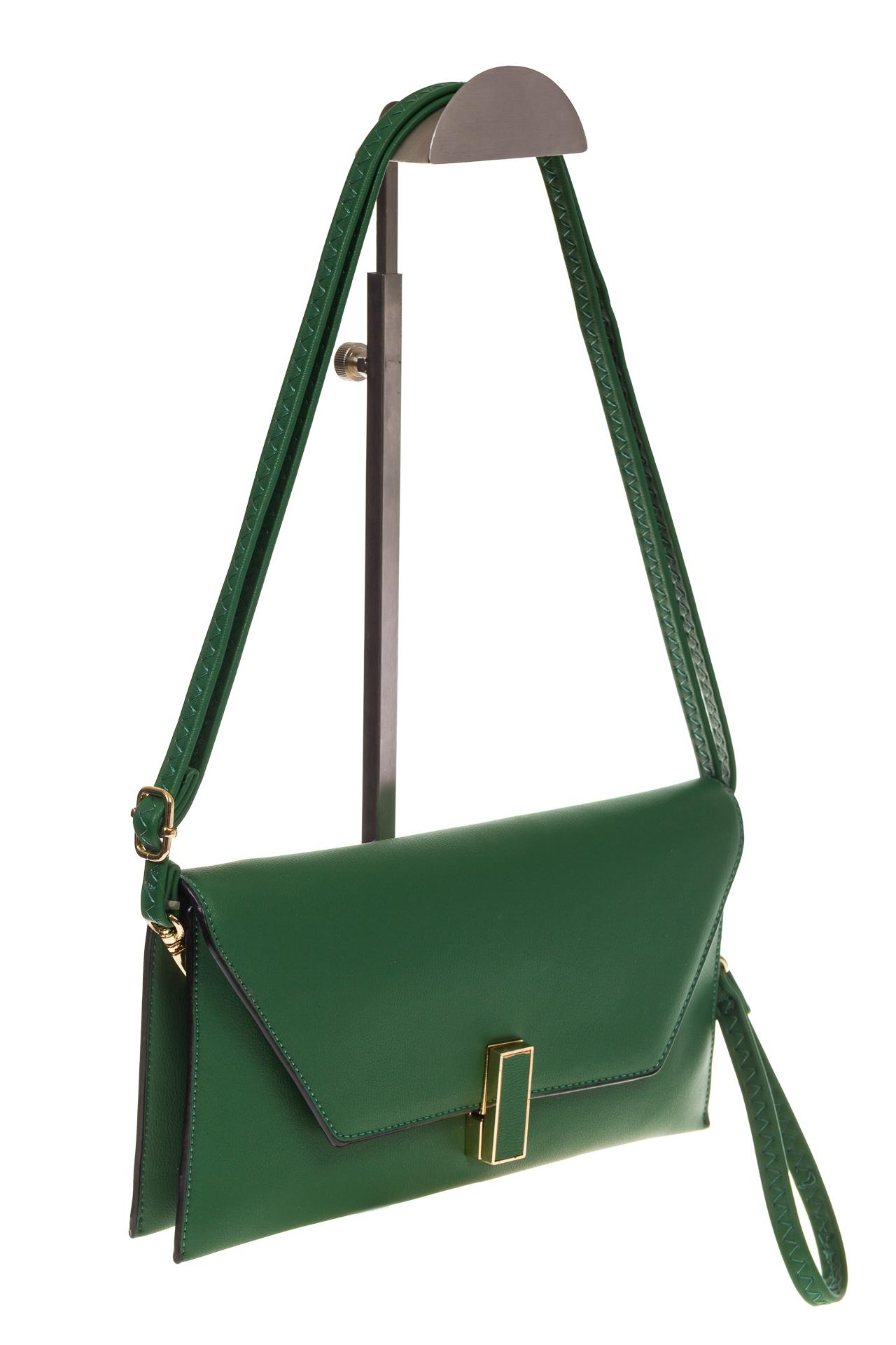 На фото 1 - Сумочка-Flat из эко-кожи цвет зеленый 7115-3