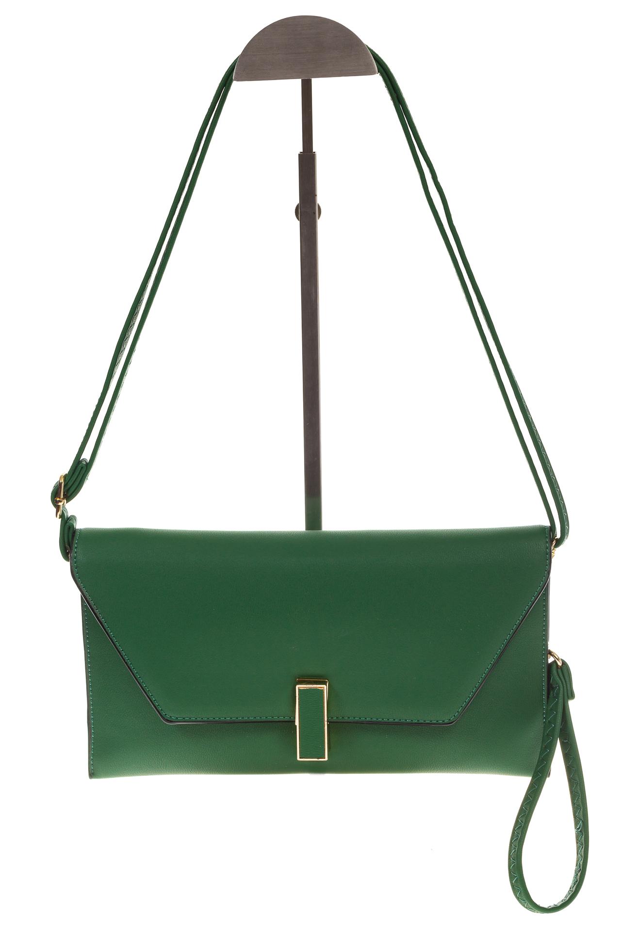 На фото 2 - Сумочка-Flat из эко-кожи цвет зеленый 7115-3