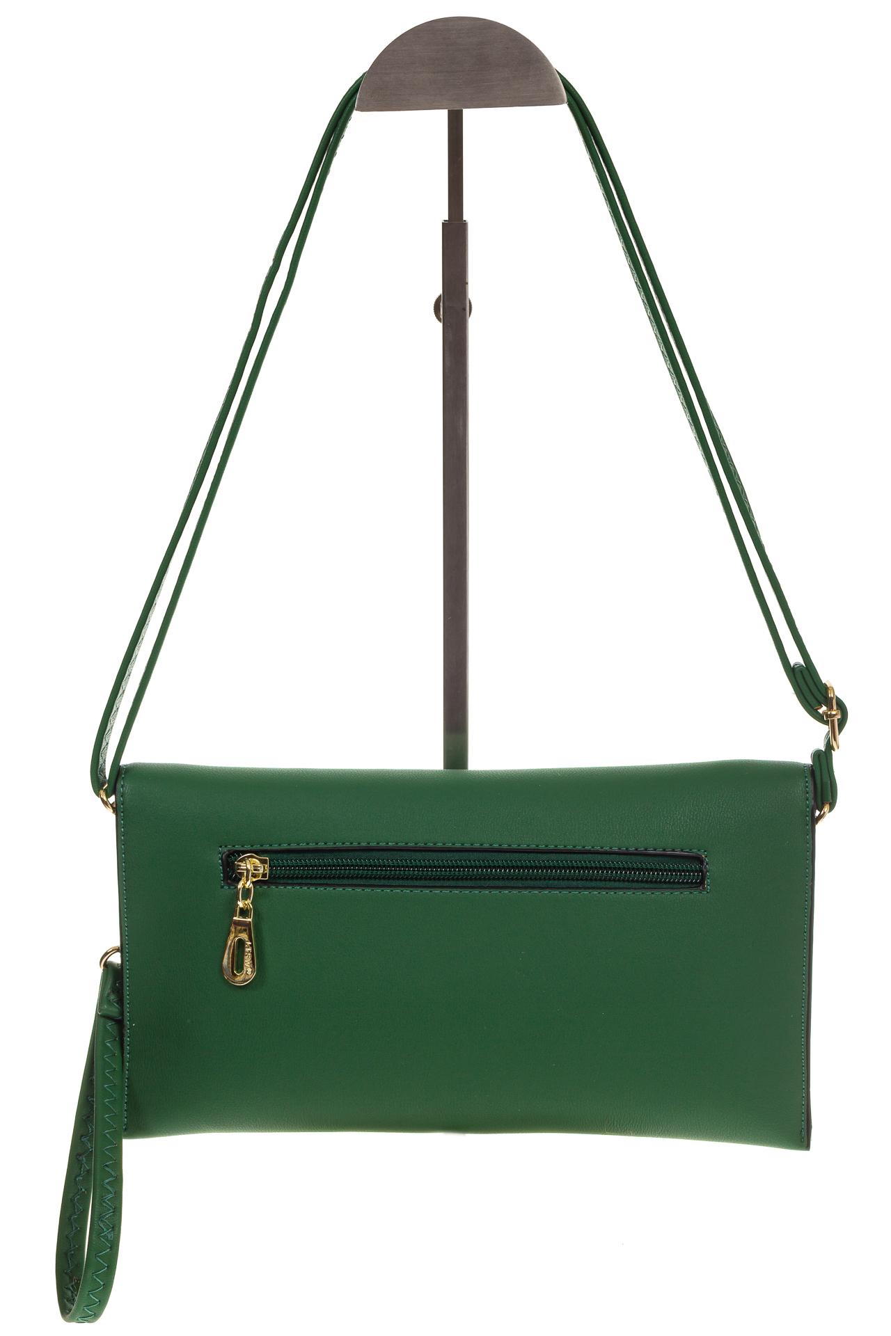 На фото 3 - Сумочка-Flat из эко-кожи цвет зеленый 7115-3