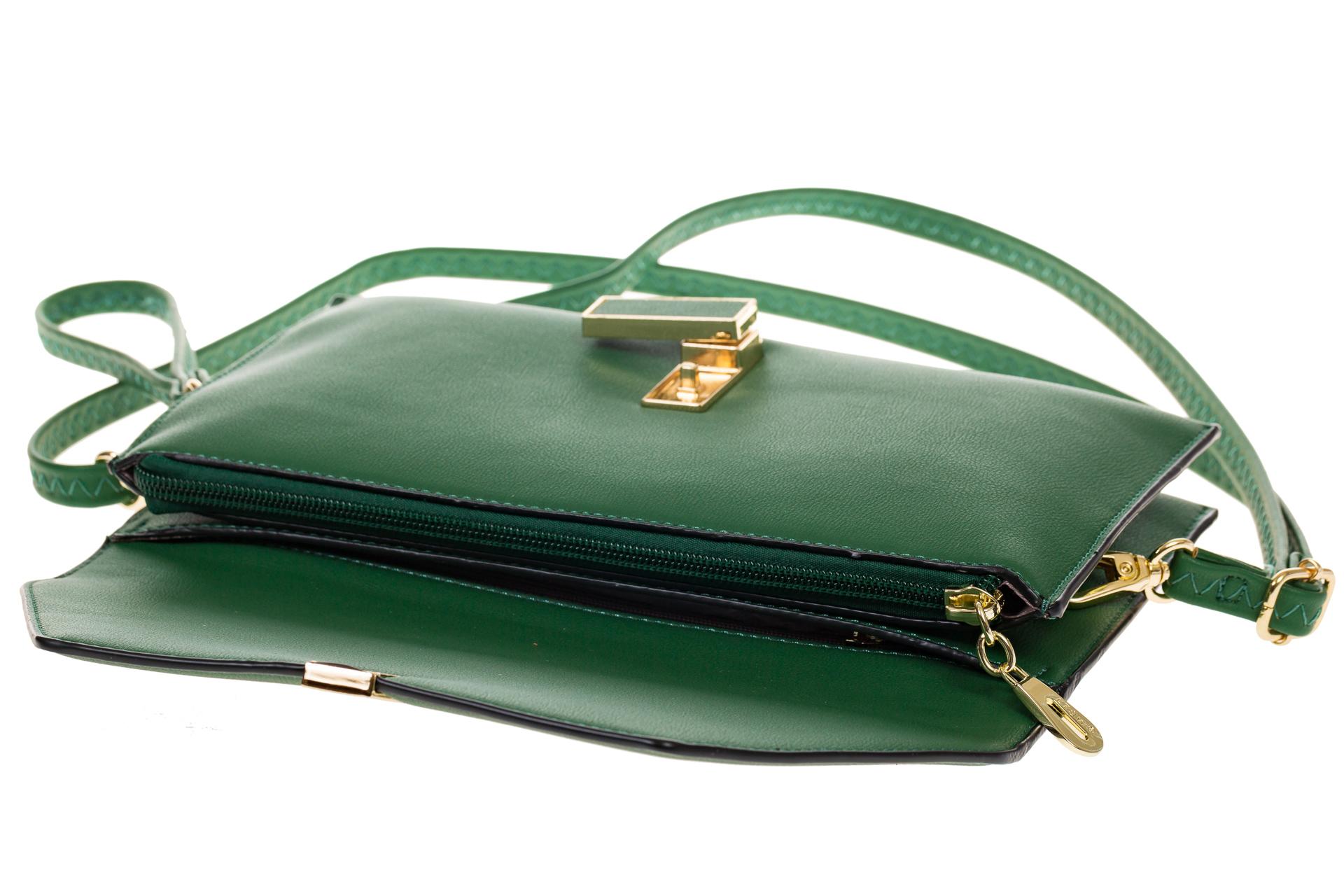 На фото 4 - Сумочка-Flat из эко-кожи цвет зеленый 7115-3